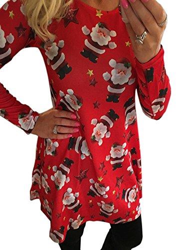 SWEETFISH Damen Weihnachtsgeschenk Candy Kittel Weihnachten Ausgestellt Franki Santa Damen Lebkuchen Rentier Rudolph Mini Swing Kleid (EU Medium(36), Rot-858)