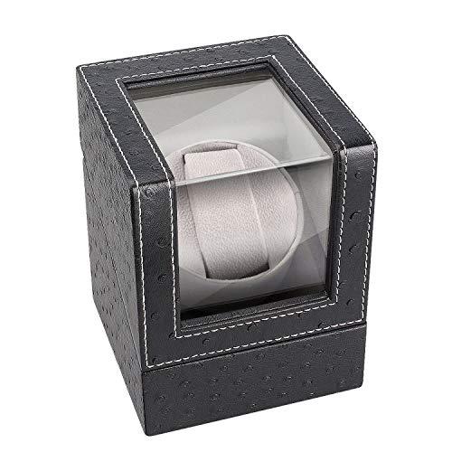 Uhrenbeweger für Automatikuhren für 1 Uhr, Kaufam Automatischer Uhrenbeweger Watch Winder mit Batteriebetrieb/Netzteil Leisem Motor PU Leder Gehäuse Uhrenkoffer für Mann und Frau