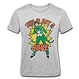 Spreadshirt DC Comics Batman Joker Not A Joke Look Usé T-Shirt Polycoton Homme, L, Gris chiné