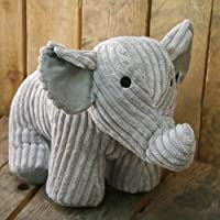CUTE RIBBED FABRIC GREY ELEPHANT DOORSTOP 90627 by Carousel Home