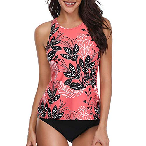 Qmber Damen Neckholder Badeanzug Bikini Set Retro Sommer Strand Kleid Strandkleidung Bademode Gepolsterte Cups Mit Slip/Red,M