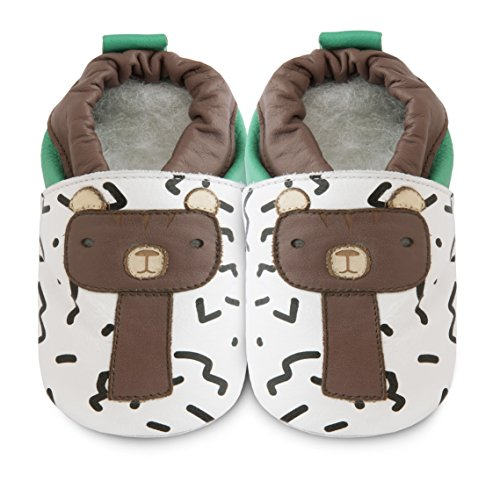 Shooshoos - Chaussons souples cuir Barry the bear - 0-6 mois 16-17