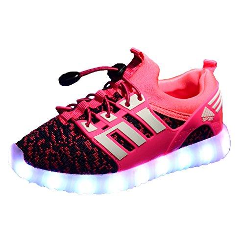 Scarpe LED Carica USB 7 Colori Lampeggiante Unisex da Tennis per Bambini Bambina Unisex Basso scarpe leggere con luci lampeggianti multicolor 1832 rosa 28