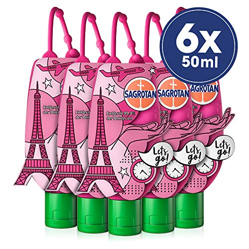 Sagrotan Healthy Touch Hand-Desinfektionsgel, Kamille & Lotus, Limited Edition Paris, für die Reise, 6 Stück (6 x 50 ml)
