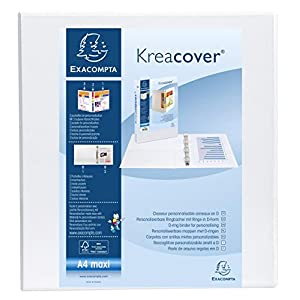 Exacompta Keacover PP Ring Binder, A4 Maxi, 2 D-Rings, 90 mm Spine - White