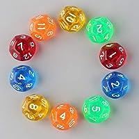 FHJZXDGHNXFGH 10 Unids/Set Multicolor Transparente Juego de rol de 12 Caras Dados D12 Nuevo Nueva Marca