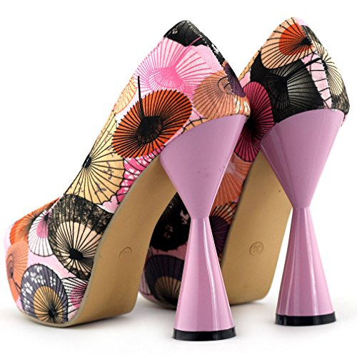 Pompa della piattaforma Show Story Cute Pink / ombrello blu Stampa peeptoe tacco a cono, LF40804 Rosa
