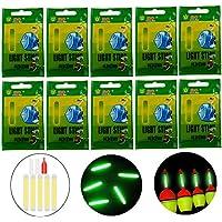 QualyQualy 10pcs 20pcs 50pcs Mucho Bulk Glow Sticks para flotadores de Pesca Bobbers Pesca Luminoso Luz Nocturna Stick Varita Tubos Verde Fluorescente iluminación Stick, 50 Pcs 4.5 * 37mm