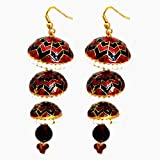 Kalaplanet Thewa 3 Jhumka - Red And Blac...