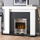 Electric White Surround Downlights Black Granite Marble Silver LED Fire Chunky Fireplace Big Suite Large 54""