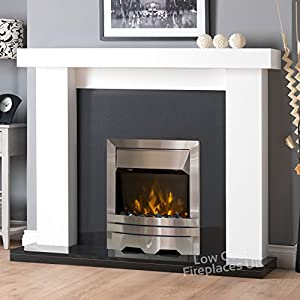 Electric White Surround Black Silver Steel LED Flame Fire Wall Free Standing Fireplace Suite Large Big 54""