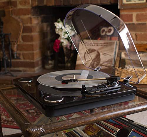 ION Audio Max LP - Giradiscos de tres Velocidades con Altavoces Estéreo, Salida USB para Convertir Discos de Vinilo a Archivos Digitales y Salidas RCA y Auriculares Estándar, Acabado en Negro Piano