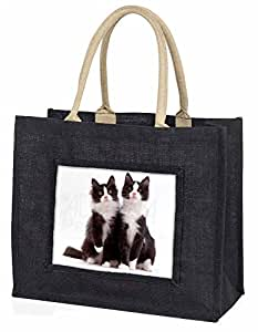 Two Black and White Cats Large Black Shopping Bag Christmas Present Idea