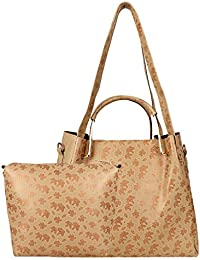 Don Cavalli Women's PU Leather Handbag With Sling Bag Combo (HB017, Golden)