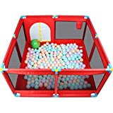 LYFHL Recinzione per Giochi per Bambini - Recinzione di Sicurezza per Bambini Recinzione per Bambini per Cani Recintati per Bambini 128cm (Colore : Red)
