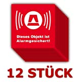 12 Stück - Folienaufkleber Alarm rot Größe 5 x 5 cm - (505k) - Dieses Objekt ist ALARMGESICHERT!