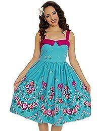 Lindy Bop Saskia Teal Folk Floral Print Swing Dress