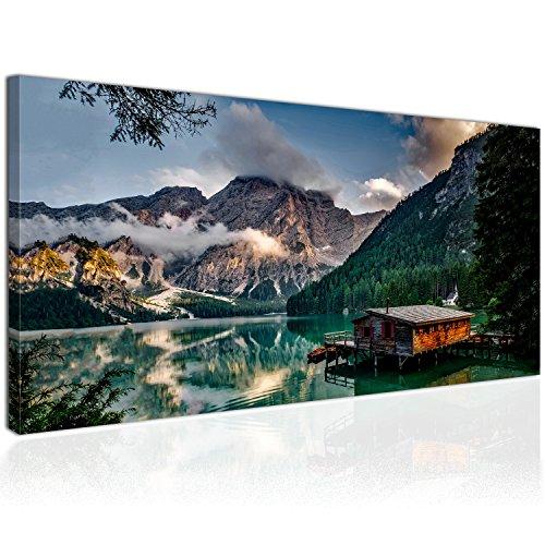 XXL Wandbild, Leinwandbild 100x50cm, Hütte in den Dolomiten mit Blick auf Berge und See - Natur und Landschaft - Panoramabild Keilrahmenbild, Bild auf Leinwand - Einteilig, Fertig zum Aufhängen