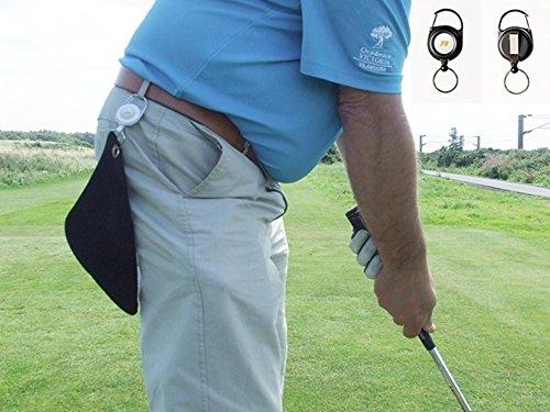 Mini serviette de golf rétractable Noir, clip n'importe où. Black Reel 20cm x 20cm