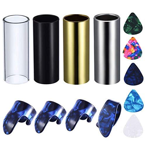 4 Stück Medium Gitarren-Slides (inklusive 3 Farben Edelstahl, 1 Glas), 5 Stück Gitarrenplektren und 4 Stück Kunststoff Daumen-Fingerplektren