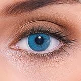 Stark deckende natürliche blaue Kontaktlinsen farbig 'Natural Sapphire' + Behälter von LENZOTICA I 1 Paar (2 Stück) I DIA 14.00 I ohne Stärke