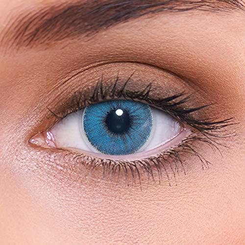 """Stark deckende natürliche blaue Kontaktlinsen farbig \""""Natural Sapphire\"""" + Behälter von LENZOTICA I 1 Paar (2 Stück) I DIA 14.00 I ohne Stärke"""