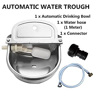 Automatic Water Trough Stainless Steel Bowl Auto for Dog Horse Sheep With Water Hose Automatic Water Trough Stainless Steel Bowl Auto for Dog Horse Sheep With Water Hose 51V7efwyFIL