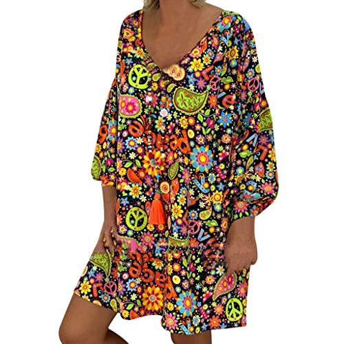 xinxinyu Plus Größe Damen Kleid V Ausschnitt Schulterfrei Blumendruck Langarm Unregelmäßige...