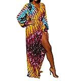 Sannysis Damen Maxikleid Langes Elegantes Kleid Boho Bunte Print Langarm V-Ausschnitt Party Strandkleid Sommerkleider