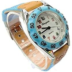 QBD High Quality Boys Girls Time Teacher Watch Kids Children's Gift Fabric Strap Tutor Student Cute Sports Colourful Easy Read Dial Wristwatch Light Blue