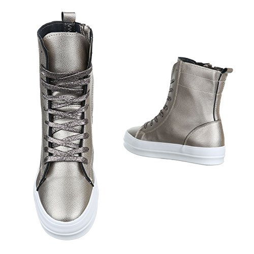 High-Top Sneaker Damenschuhe Schnürer Ital-Design Freizeitschuhe Bronze