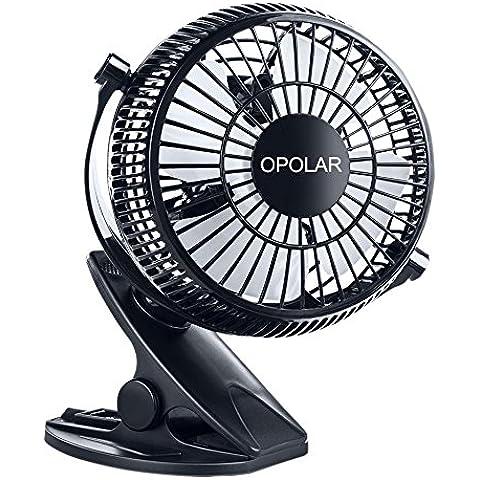 OPOLAR Clip F801 y ventilador de escritorio, 2 en 1 Aplicaciones, fuerte viento, alimentación USB, 2 velocidades, con clip del ventilador, escritorio, ventilador, ventilador Oficina, Tabla Fan, ventilador silencioso, Ventilador de Personal, pequeño ventilador de refrigeración, Negro