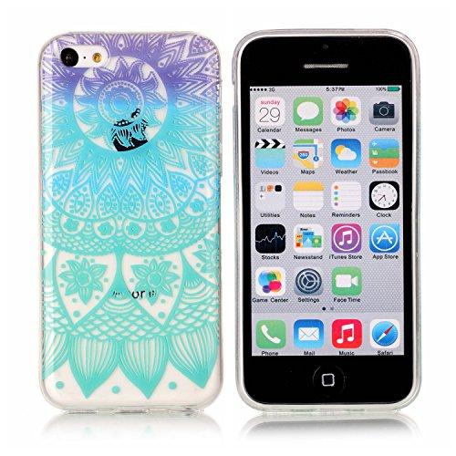 iPhone 5C Hülle, E-Lush TPU Soft Silikon Tasche Transparent Schale Clear Klar Hanytasche für iPhone 5C Durchsichtig Rückschale Ultra Slim Thin Dünne Schutzhülle Weiche Flexibel Handyhülle Kratzfeste S Blau-Mandala