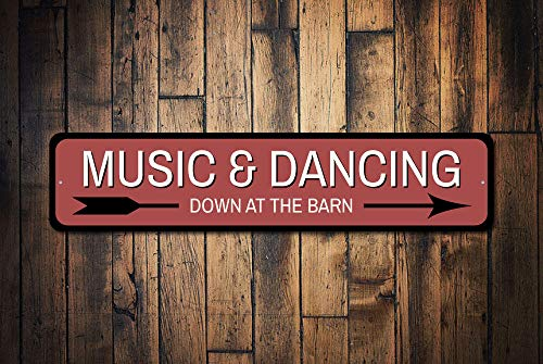 Dozili Musik- und Tanzschild für Musikliebhaber, Geschenk, Tanzdekoration, Scheunen-Party, Dekoration, Scheunenpfeil, aus hochwertigem Aluminium, 10,2 x 45,7 cm - Rost-finish Deckenventilator