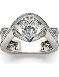 Naitik Jewels 925 Sterling Silver Antique Designer Pear Cut Diamond Ring For Women