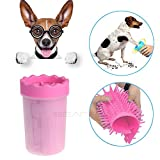 Limpiador de huellas de perro, lavador de pies para mascotas, portátil y duradero, con cerdas de silicona suave, reutilizable y rápido de lavado de peluche, pajitas suaves y pies para gatos pequeños, tamaño mediano