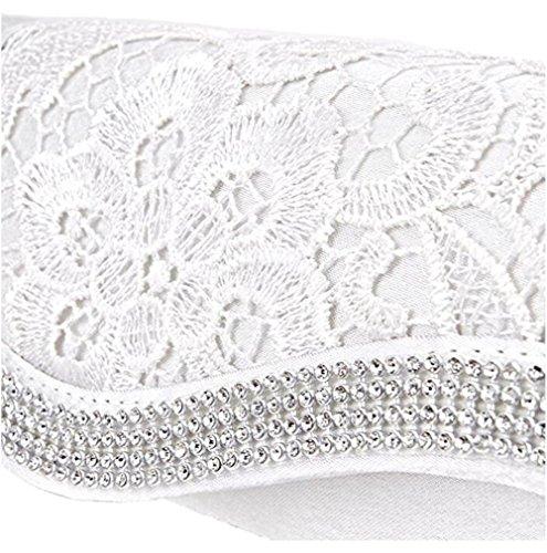 Clorislove, borsetta pochette da sera, con rivestimento in pizzo e diamante, all'uncinetto, da donna, in raso, da sposa White
