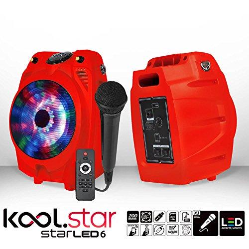 Enceinte karaoké mobile à LEDs RVB - USB/BLUETOOTH + Micro filaire + Tél - Couleur Rouge