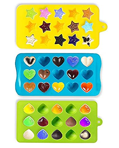 VOFO Candy Molds & Ice Cube Trays - Hearts, Stars & Shells - Silicone Chocolate Mold - Fun, Toy Kids Set - Use for Cakes, Chocolate, Ice Cream, Tarts, Muffins, Candles, Soaps, Jello, Mousses