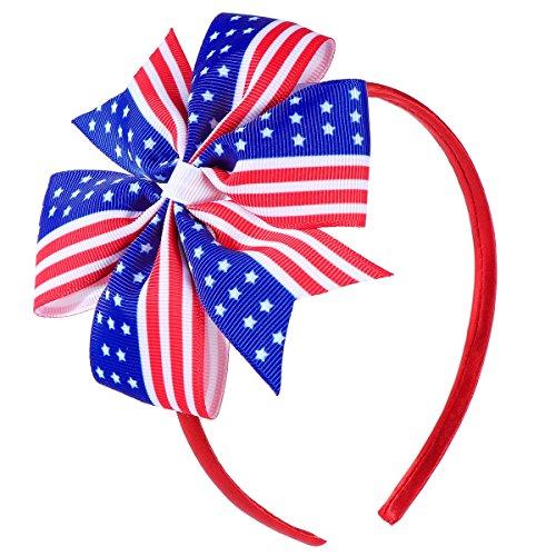 Schätzen Amerikas Nationalen (BESTOYARD Amerika Flagge Haar Clip Baby Mädchen Bowknot Haarnadeln für Unabhängigkeitstag 4. Juli Nationalfeiertag Birthday Party Favors)