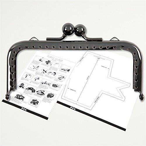 Bügelverschluss für Handtaschen, Größe 10 cm, Metallic-Hellgrau, 1Stck (Tasche Geldbörse Handtasche Metallic)