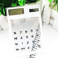 GEZICHTA LCD 8 dígitos Pantalla Táctil Ultra Slim Transparente Calculadora Solar Papelería Claro Calculadora Científica Estudiante Oficina Escolar, blanco