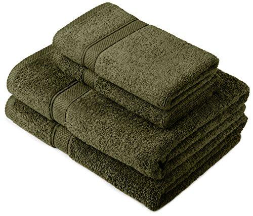 Pinzon by Amazon Handtuchset aus Baumwolle, Moosgrün, 2 Bade- und 2 Handtücher, 600g/m² - Grüne Waschlappen