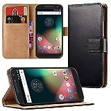Eximmobile Book Case Handyhülle Motorola Moto G2 in Schwarz Schutzhülle Tasche Kartenfach