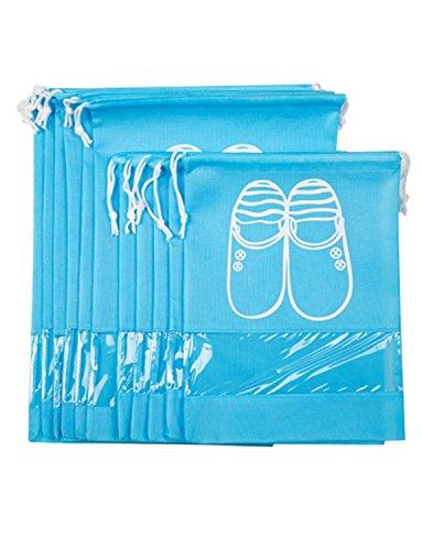dyss Travel Schuhbeutel 10Stk Staubdicht Atmungsaktiv Kordelzug Schuhe Organizer Aufbewahrungstasche (5m und 5L) marineblau blau