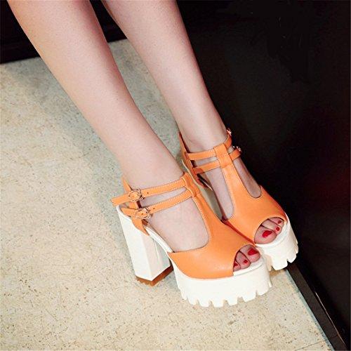 YE Damen T-Spange High Heels Peep Toe Plateau Sandalen mit Blockabsatz und Riemchen Schnalle Schuhe Orange