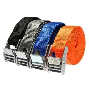 4pcs Metal Cam Buckle Tie Down Strong Nylon Lock Strap Luggage Cargo Lash Belt,3.1cm x4.9cm
