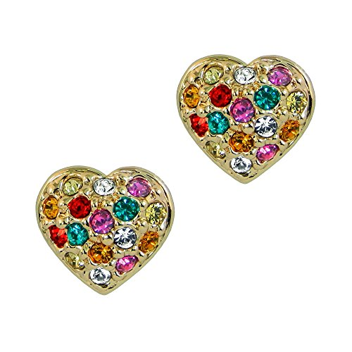 Perfekte Geschenk-Muti (Zulu) farbiger Kristall Herz Rose Vergoldet Titan Stahl Ohrringe Ohrstecker klein in Box