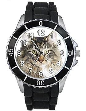 Timest - Norwegische Waldkatze Katzen Motiv Uhr Unisex mit Silikonband Rund Analog Quarz SE0175