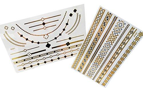 confezione-da-2-oro-e-nero-gioielli-tatuaggi-temporary-body-art-impermeabile